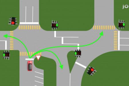 Как выехать с прилегающей территории прямо на перекресток?