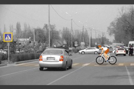 Не пропустил велосипедиста на пешеходном переходе